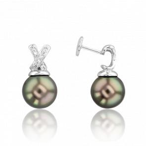 Boucles d'oreilles perles, or blanc 18K et croix diamantée