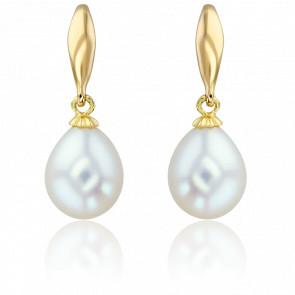 Boucles d'oreilles pendantes perles blanches & or jaune 18K