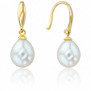 Boucles d'oreilles perles blanches pendantes et or jaune 18K
