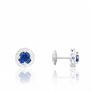 Boucles d'oreilles saphir de Ceylan & diamants, or blanc 18 carats