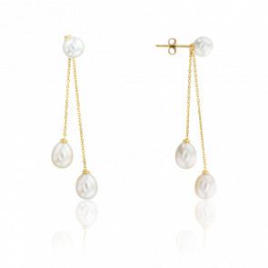 Boucles d'oreilles pendantes, trio de perles et or jaune 18 carats