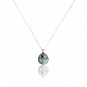 Collier Connecticut, Perle & Diamants, Or Blanc 18K