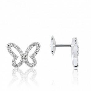 Boucles d'oreilles diamants, papillon ajouré et or blanc 18 carats