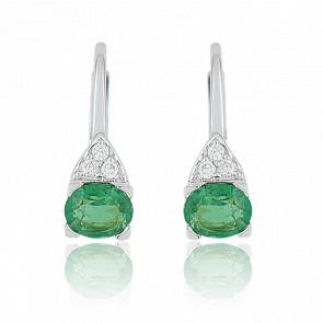 Boucles d'oreilles or blanc 18 carats, émeraudes & diamants