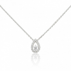Collier poire diamants 0,243 ct, or blanc 18K