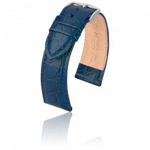 Bracelet Crocograin Bleu - Entrecorne 18 mm