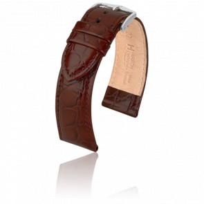 Bracelet Crocograin Marron / Silver - Entrecorne 20 mm