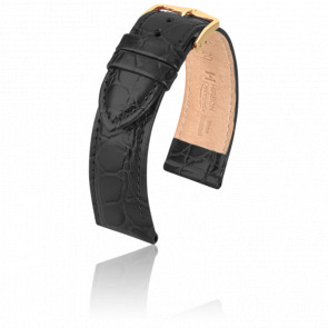 Bracelet Crocograin Noir - Entrecorne 18 mm