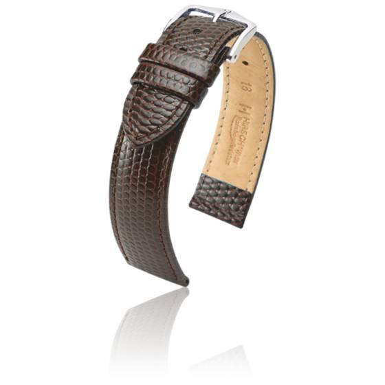 ZRC Fabriqué en France Marron Foncé Peau de Crocodile 12mm Bracelet Montre Ton