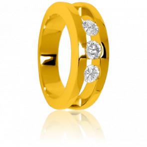 Bague Trilogie de Diamants Or Jaune