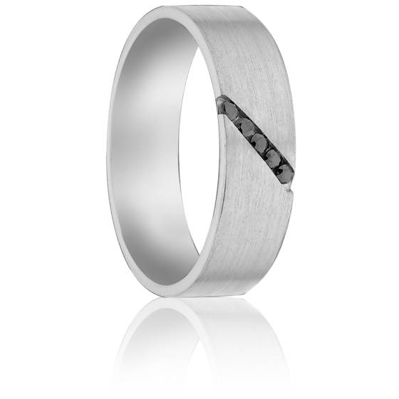 Alliance Adson Palladium et Diamants Noirs, 5 mm