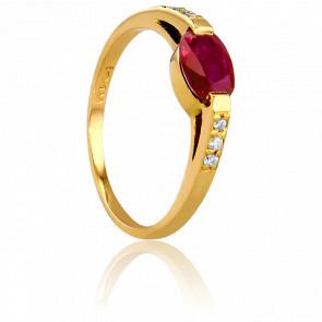 Bague Ovale Rubis, Diamants & Or Jaune 18K