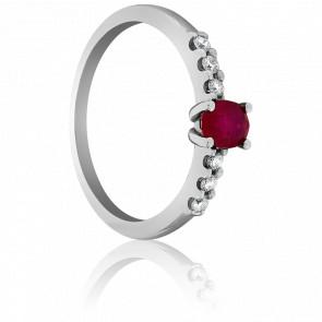 Bague Rubis Or Blanc et Diamants - Bellon