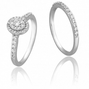 Duo Alliance & Solitaire Bota, Diamants GSI & Or Blanc 9K
