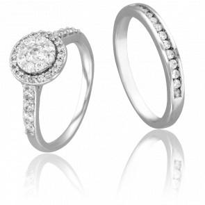 Duo Alliance  & Solitaire Jack, Diamants GSI & Or Blanc 9K