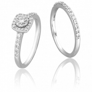 Duo Alliance & Solitaire Joie , Diamants GSI & Or Blanc 9K