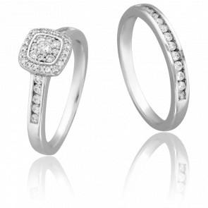 Duo Alliance & Solitaire Dala, Diamants GSI & Or Blanc 9K