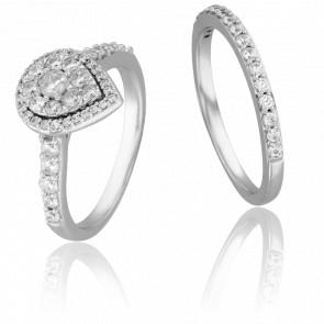 Duo Alliance & Solitaire Lune, Diamants GSI & Or Blanc 9K