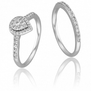 Duo Alliance & Solitaire Shelly, Diamants GSI & Or Blanc 9K