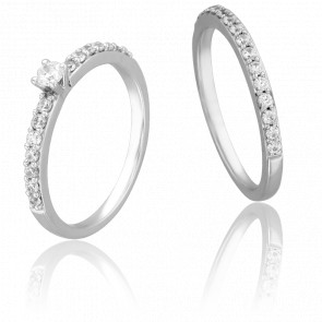 Duo Alliance & Solitaire Amour, Diamants 0,10 ct & Or Blanc 9K