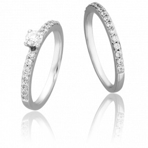 Duo Alliance & Solitaire amour, Diamants 0,25 ct & Or Blanc 9K
