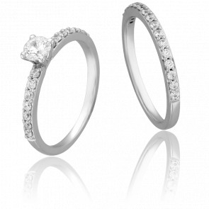Duo Alliance & Solitaire Amour, Diamants 0,33 ct & Or Blanc 9K
