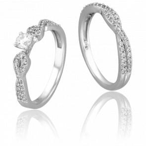 Duo alliance & solitaire Yolenda, diamants 0,20 ct & or blanc 18K