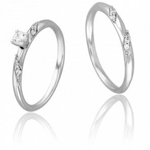 Duo Alliance & Solitaire Marcus, Diamants 0,10 ct & Or Blanc 9K