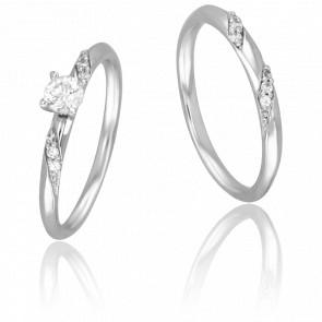 Duo Alliance & Solitaire Marcus, Diamant 0,20 ct & Or Blanc 9K