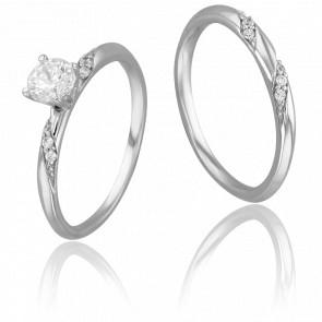 Duo Alliance & Solitaire Marcus, Diamant 0,40 ct & Or Blanc 9K