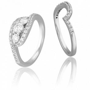 Duo Alliance & Solitaire Jules, Diamants & Or Blanc 9K
