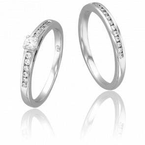 Duo Alliance & Solitaire Bernard, Diamant 0,15 ct & Or Blanc 9K