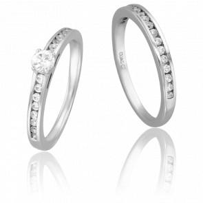 Duo Alliance & Solitaire Bernard, Diamant 0,20 ct & Or Blanc 9K