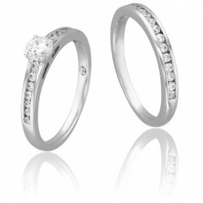 Duo Alliance & Solitaire Bernard, Diamant 0,40 ct & Or Blanc 9K