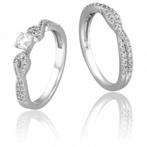 Duo alliance & solitaire Yolenda, diamants 0,38 ct & or blanc 18K