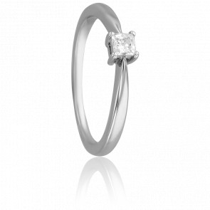 Bague Solitaire Emilien, Diamant 0,20 ct & Or Blanc 18K
