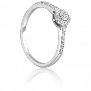 Bague Solitaire Roma, Diamants 0,15 ct & Or Blanc 9K