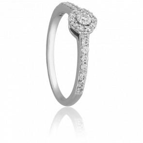 Bague Solitaire Roma, Diamants 0,25 ct & Or Blanc 9K