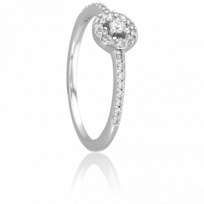 Bague Solitaire Carpette, Diamants 0,05 ct & Or Blanc 18K