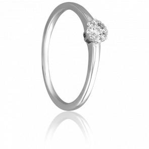 Bague Solitaire Valentin, Diamant 0,10 ct & Or Blanc 18K