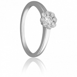 Bague Solitaire Valentin, Diamant 0,30 ct & Or Blanc 9K