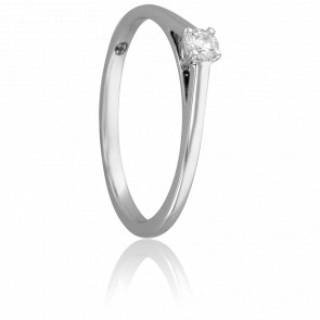 Bague Solitaire Augustin, Diamant 0,10 ct & Or Blanc 9K