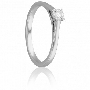 Bague Solitaire Augustin, Diamant 0,20 ct & Or Blanc 18K