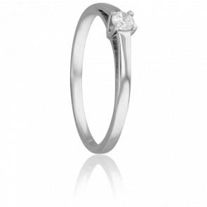 Bague Solitaire Justin, Diamant 0,15 ct & Or Blanc 18K