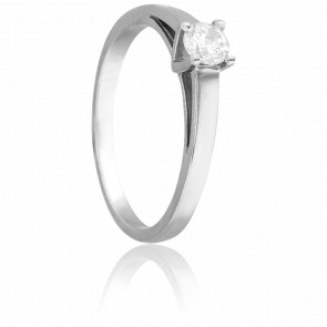 Bague Solitaire Justin, Diamant 0,20 ct & Or Blanc 18K