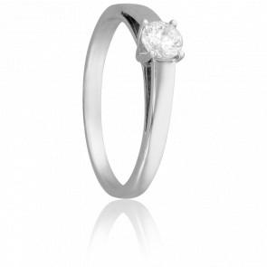 Bague Solitaire Justin, Diamant 0,30 ct & Or Blanc 18K