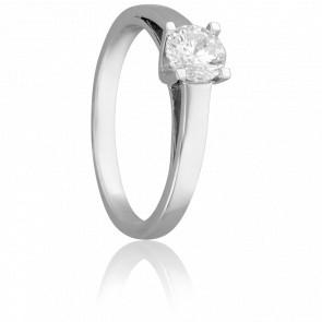 Bague Solitaire Justin, Diamant 0,40 ct & Or Blanc 18K