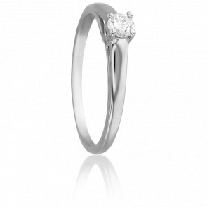 Bague Solitaire Romarin, Diamant 0,15 ct & Or Blanc 18K