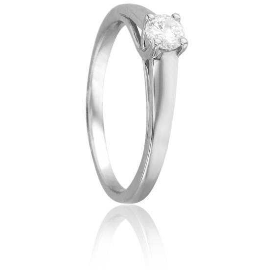 Bague Solitaire Romarin, Diamant 0,20 ct & Or Blanc 18K