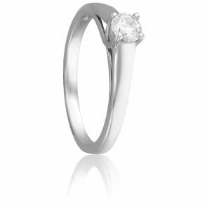 Bague Solitaire Romarin, Diamant 0,30 ct & Or Blanc 18K